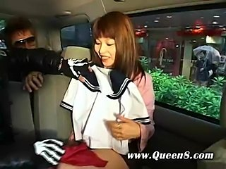 Naughty asian school girl goes for a ride and a good time when she hops in a bus with some older guys with young pussy on their mind.