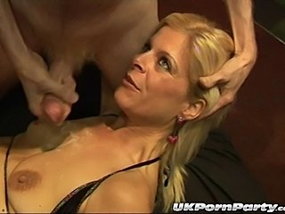Sexy British milfs Lady Bukkake and Sandy get fucked in a gangbang party that goes anal!