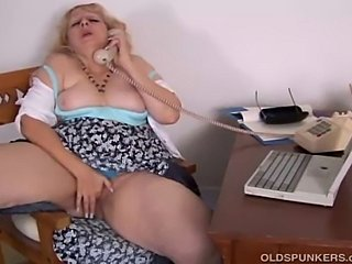 Beautiful big busty amateur MILF loves to talk dirty onthe phone while rubbing her fat wet pussy
