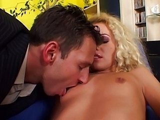 Curly blonde prefers butt love