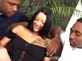 Belladonna takes on two black cocks.  DP, anal, and even takes both in her pussy