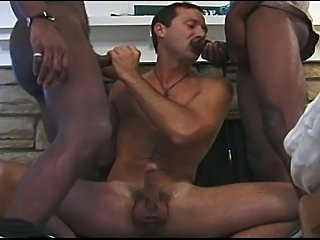 Three horny black dudes fucks poor white guy, theydestroyed his white ass with their big stiff boners.