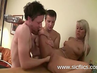 Hot blond amateur MILF gets brutally fisted and fucked by two lucky studs