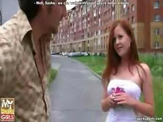 Outdoor fuck of cute russian redhead teen