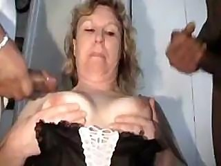 Busty middle-aged prostitute worships double penetration with good stiff dicks