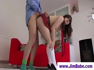 Old man fucks brunette in mini skirt  free
