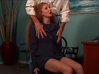 Hairy redhead secretary sucked a very big cock.