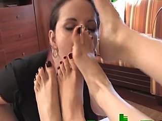 Lesbian foot worship - Mistress Arella and Mistress Heelena