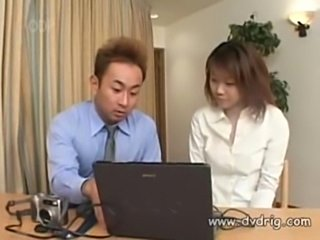 Japanese boss and his assistant invite beautiful girl employ free