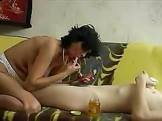 Mature lady finds young boy and makes an experienced lover out of him
