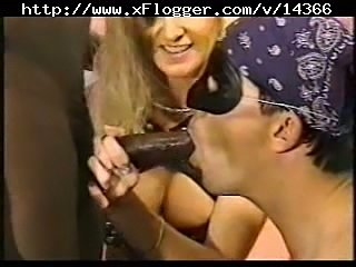 Wife makes hubby taste black dick