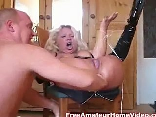 This tied up German babe gets a good ass fucking by adildo till she squirts...