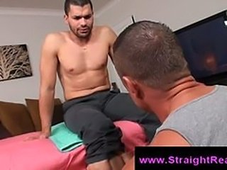 Straight guy is seduced while receiving massages from big gay man