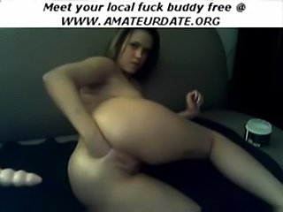 Blonde webcam girl pokes and fists her ass and dildo fucks i free