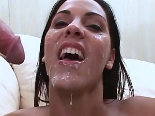 Dirty brunette Veronica Rayne gets facial