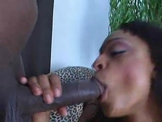 Slurping on giant black dick