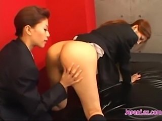 Officelady getting her pussy and asshole licked on the bed  free
