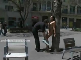 Brunette humiliated on public streets fucked naked in front of people in...