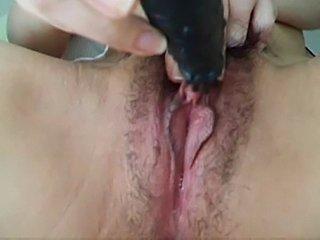 Hairy Asian big clit masturbation..Kyd!!!