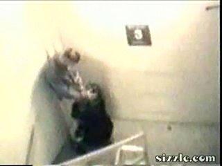 Boss fucks his secretary in the stairway