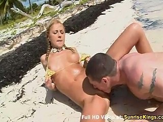 Cute blonde gives a blowjob and gets fucked on thebeach. At the end she eats hot cum