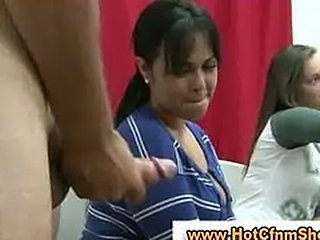 Cfnm babes give a guy a handjob in reality groupsex