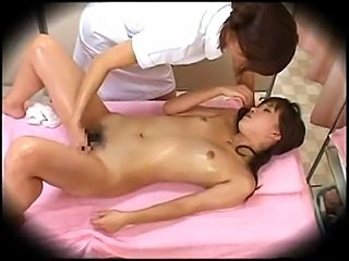 Young Woman seduced into Sex by her lesbian massager. Spycam in health Spa