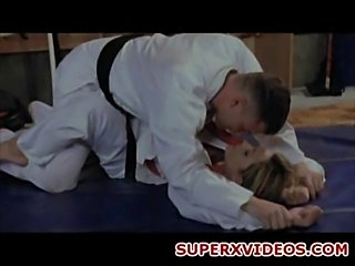 Horny blonde fuck her karate teacher oral sex blowjob