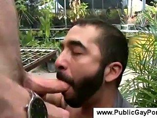 Bearded farmer gives a blowjob
