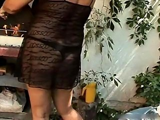Chubby Granny Astrid with huge tits fucked outdoor