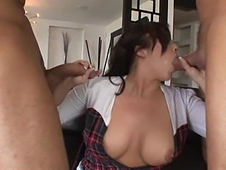 Schoolgirl with bows has fun with double dicking