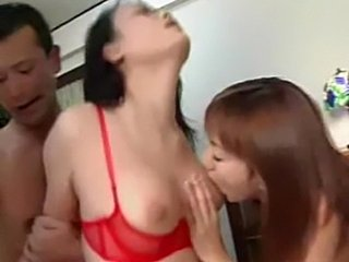 Japanese group sex with two hairy cunts