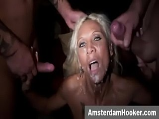 Blonde prostitute takes double facial  free