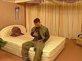 Private finally got home from army. Is there a betterthing to do than jerk...
