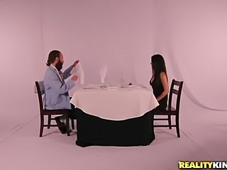 Fancy dinner with pussy meal.