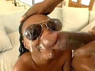 Hot ebony pornstar Stacy Adams sprayed with spunk