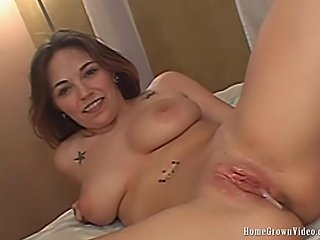Adara at 19 years old sucks her boyfriend into getting frisky on camera. This adventurous lass bares her ample cleavage shaven pussy and multiple piercings and gets beautifully fucked. The finale of some very attractive boob jiggling puts just the right end to this scene.
