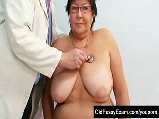 Busty elder woman gyn clinic exam  free