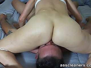 Mistress becomes so horny while she gets her ass hole licked by a man so she...