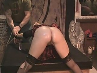 Naughty school girl Antonia gets caned