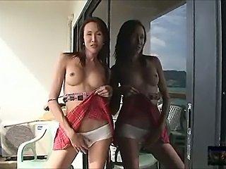 Slim titty ladyboy shoots load while getting bonked
