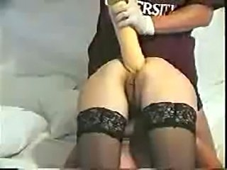 Vintage anal destruction with huge dildo