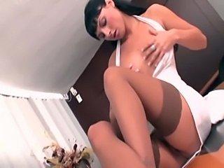 Petite secretary in stockings fucked on a desk  free