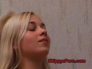 Teenage blonde gets naked  free