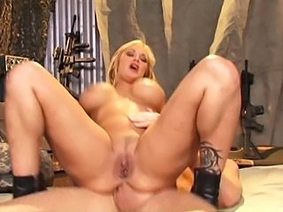 Hot mature bitch having sex with soldier for free