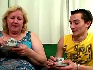 Horny granny seduces her son