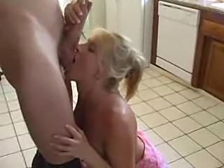 MILF Blonde Chick Sucking and Fucking in the Kitchen