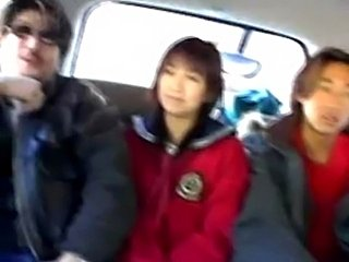 2 Japanese girls giving BJ in a van. Lesbian excitments on the sofa too.