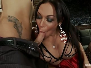 Hot shemale Mia with guy and girl