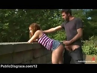 Cuffed wrists babe fucked from behind outdoors
